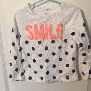 Carters size 5 smile blue polka dot longsleeve top